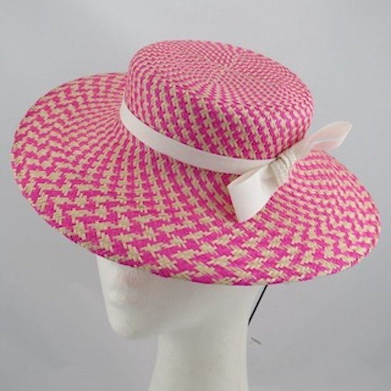 Candy Girl - Pink & Cream Boater