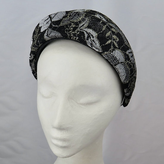 Black, Silver & Gold Lace Headband