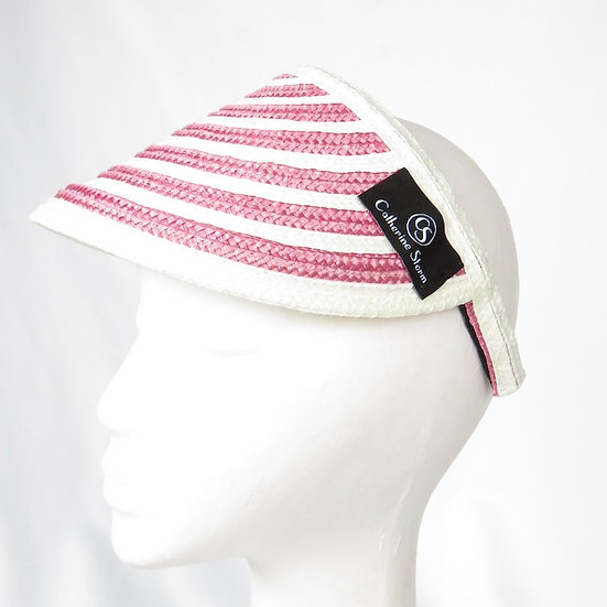 Pink and White Striped Visor