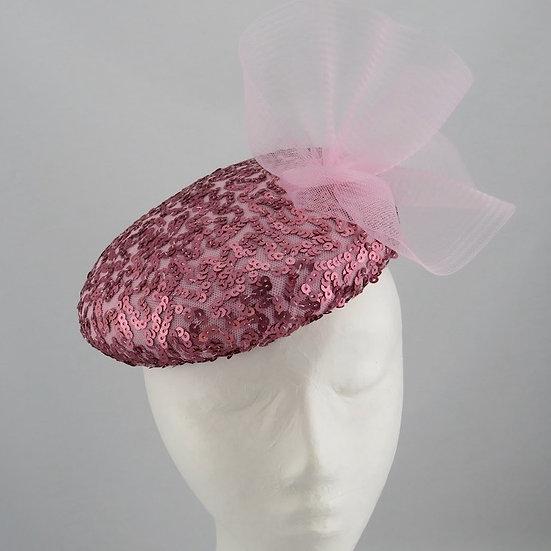 Pink Sequinned Beret Hat