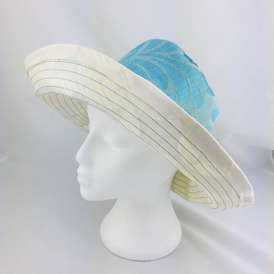 Aqua Blue/Green & Cream Cotton Fabric Retro Sunhat