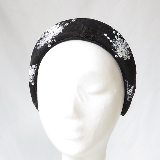 Black & White Sequinned Lace Headband