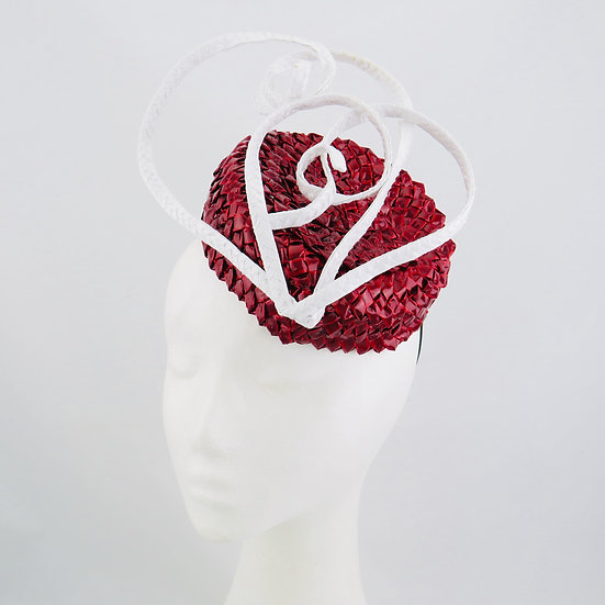 Red Heart - Red & White Swiss Braid Hat