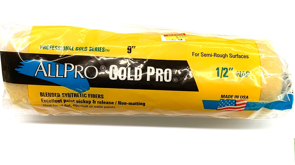 """9""""x 1/2"""" Gold Pro Roller Cover"""