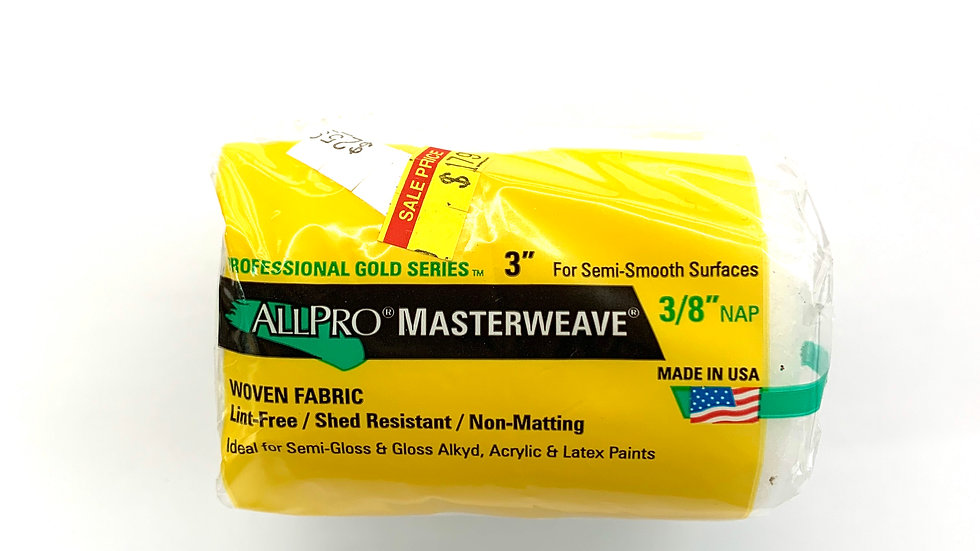 """3""""x3/8"""" NAP Allpro Masterweave Roller Cover"""