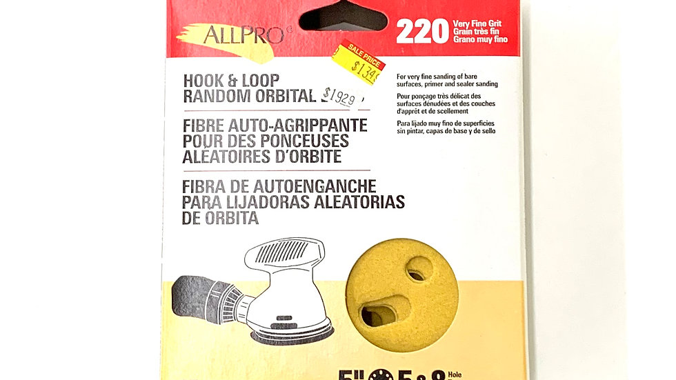220 Very Fine Grit Hook and Loop Random Orbital Discs 25 Pack