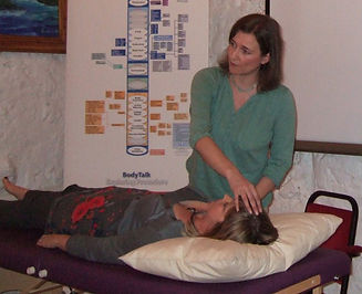 Lesley demonstrating a BodyTalk Session