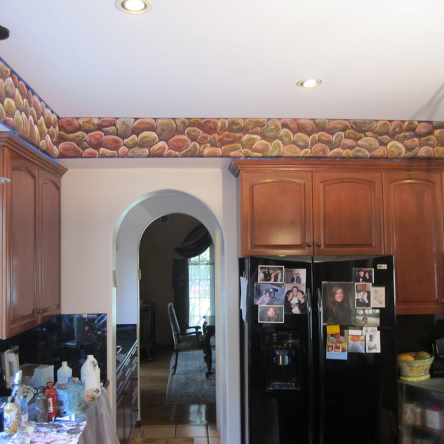 Faux Stone Kitchen Mural