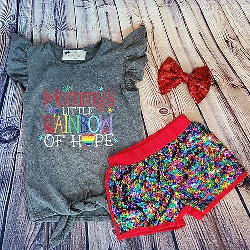Rainbow Sequin Short Set