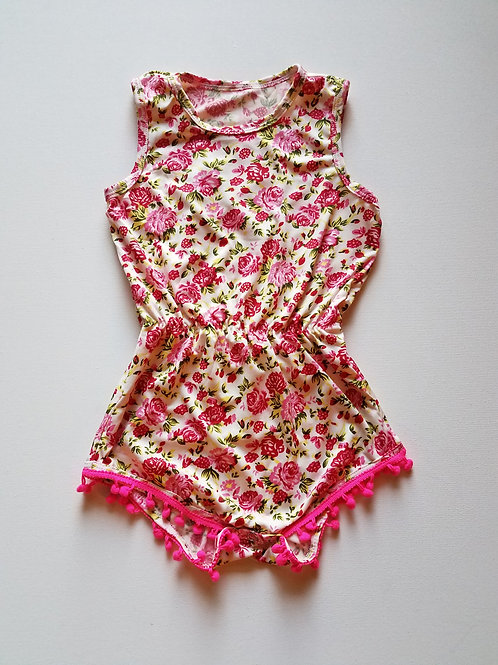 Toddler floral tassel ball romper