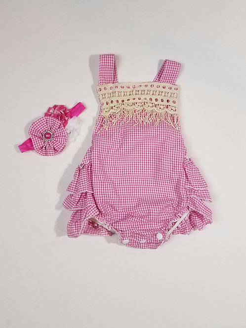Infant / toddler printed romper w / headband
