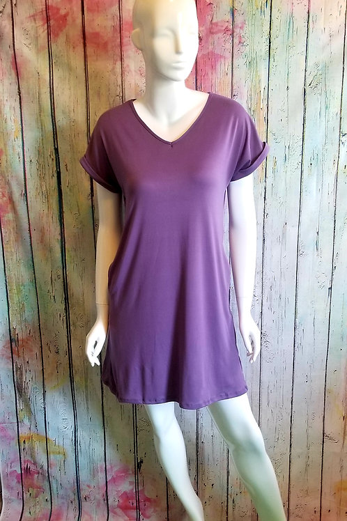 T Shirt dress grape w/pockets