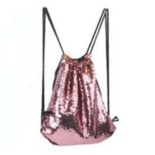Pink Sequin Drawstring Bag