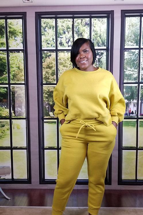 Golden wasabi bubble sleeve sweatpants set