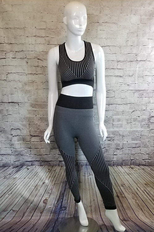 Black Seamless sports bra leggings set