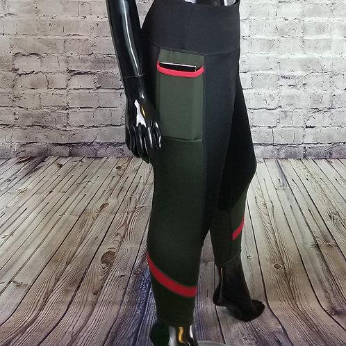 Olive color block leggings w/phone pocket