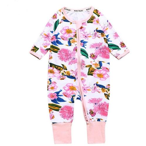 Infant pink flower jumpsuit