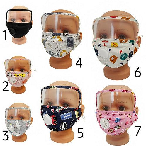 Kids face mask w/ shield / vent valve