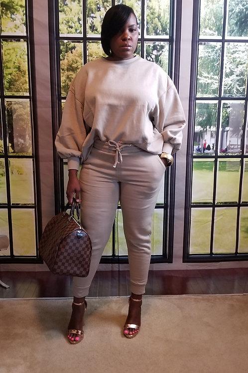 Mocha bubble sleeve sweatpants set