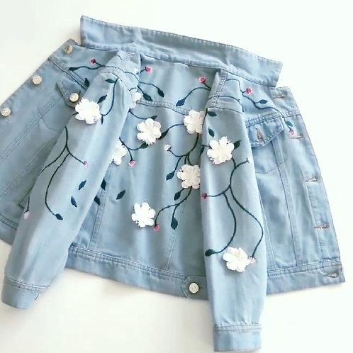 3D Flower Embroidered Denim Jacket