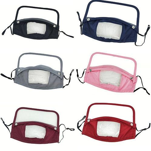 Adult face mask w/detachable shield & lip window