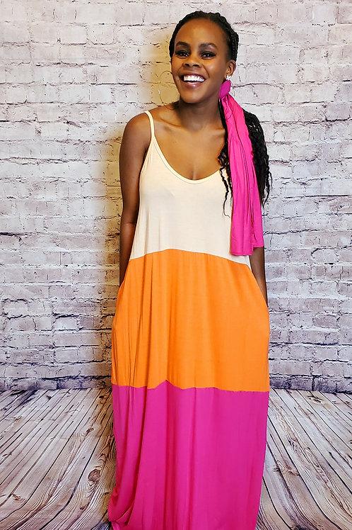 Color Block Maxi Dress w/ head wrap