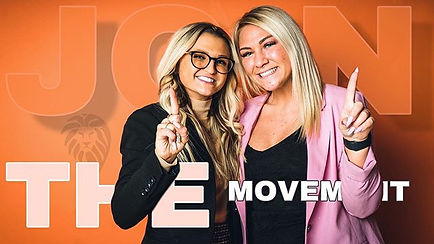 "Two women holding their index fingers up. They are accompanied by the phrase ""Join the Movement."""