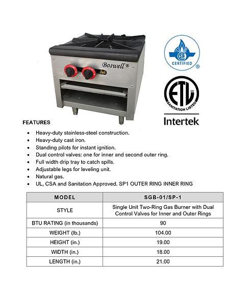 Single Unit Two-Ring Gas Burner