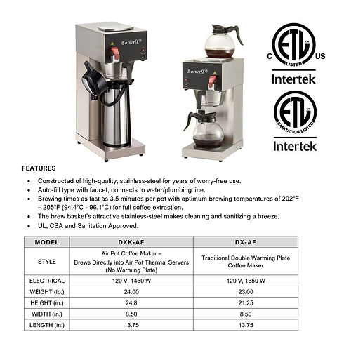 DXAF Automatic-Fill Brewing Series