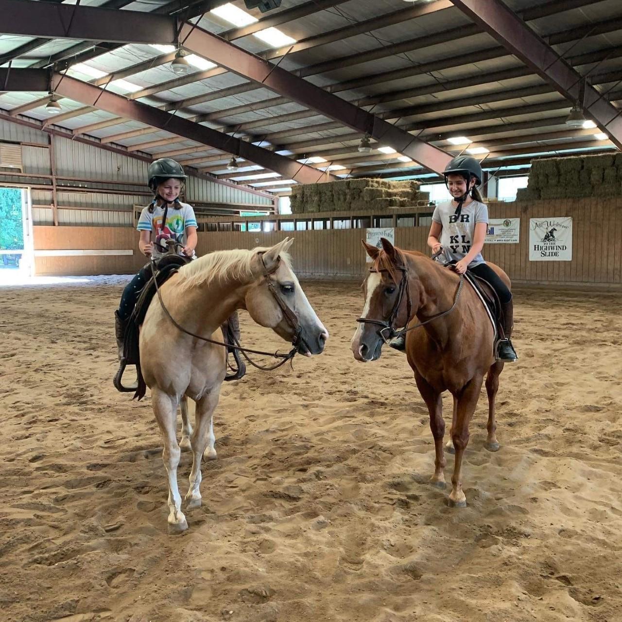 summer riding 2 horses