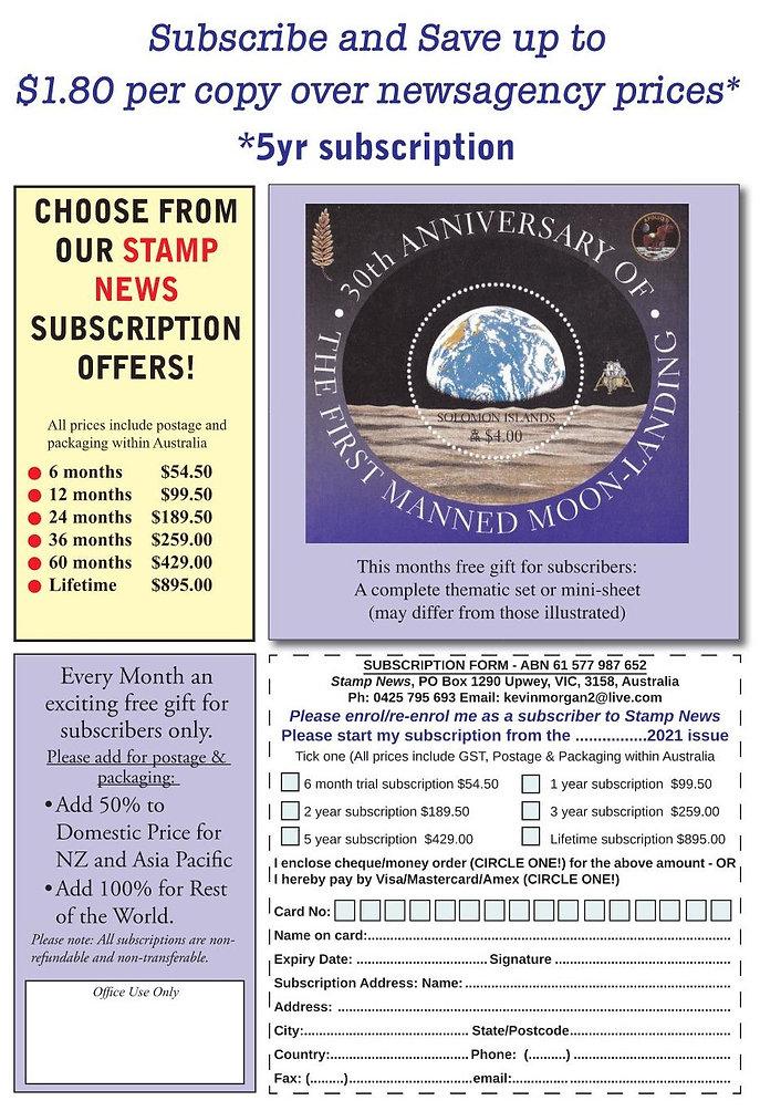 Stamp News Australasia Magazine 2021 Sub