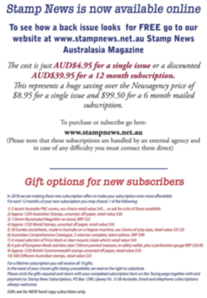 Stamp News Australasia Magazine Subscrip