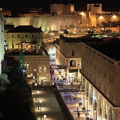 Old city walls and mamilla ave. at night in Jerusalem
