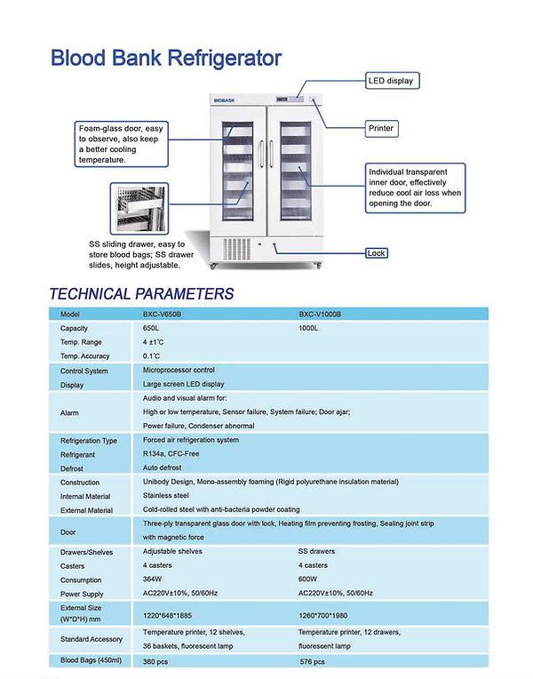 BLOOD BANK REFRIGERATOR (BXC-V650B to BX