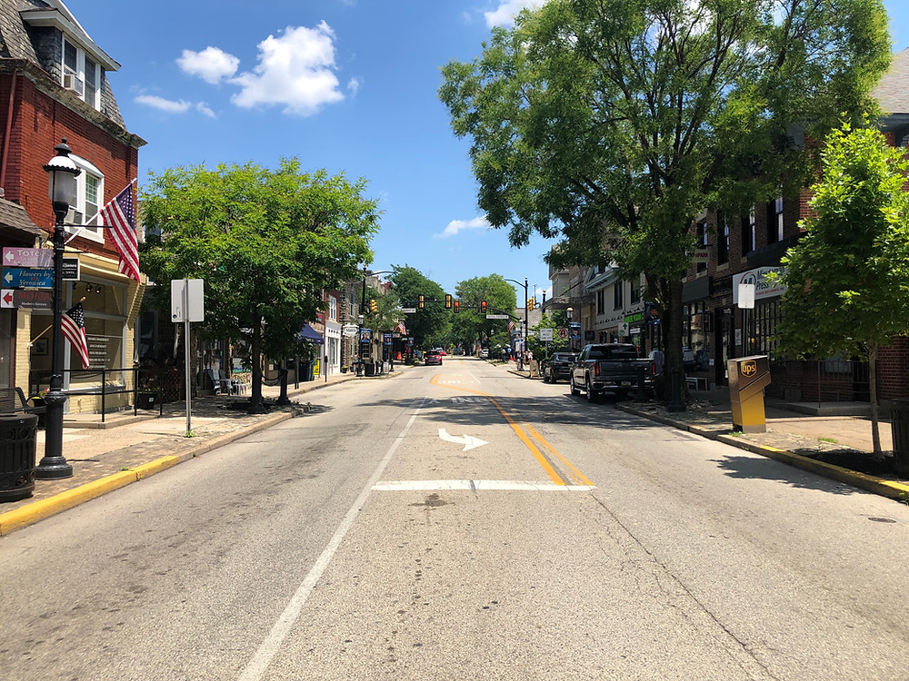 Looking down the main street, Butler Avenue, in Ambler town center
