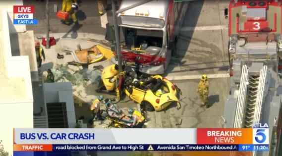 Image of news coverage of crash in LA