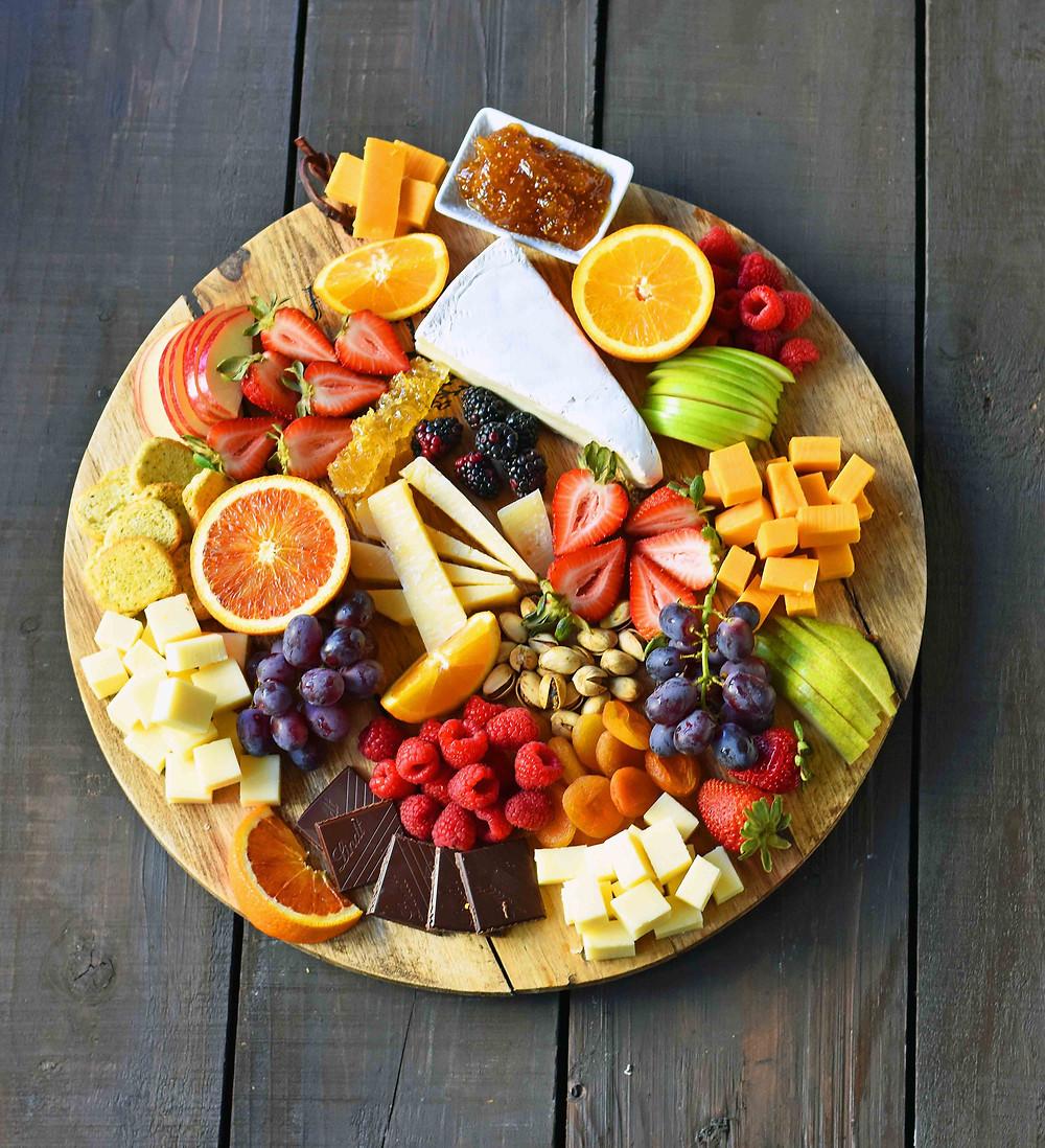 fruit, cheese, platter, fruit and cheese platter, food