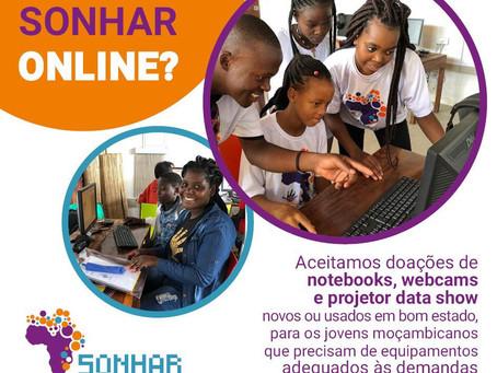 Campanha Vamos Sonhar Online arrecada notebooks, webcams e aparelhos de multimídia para cursos