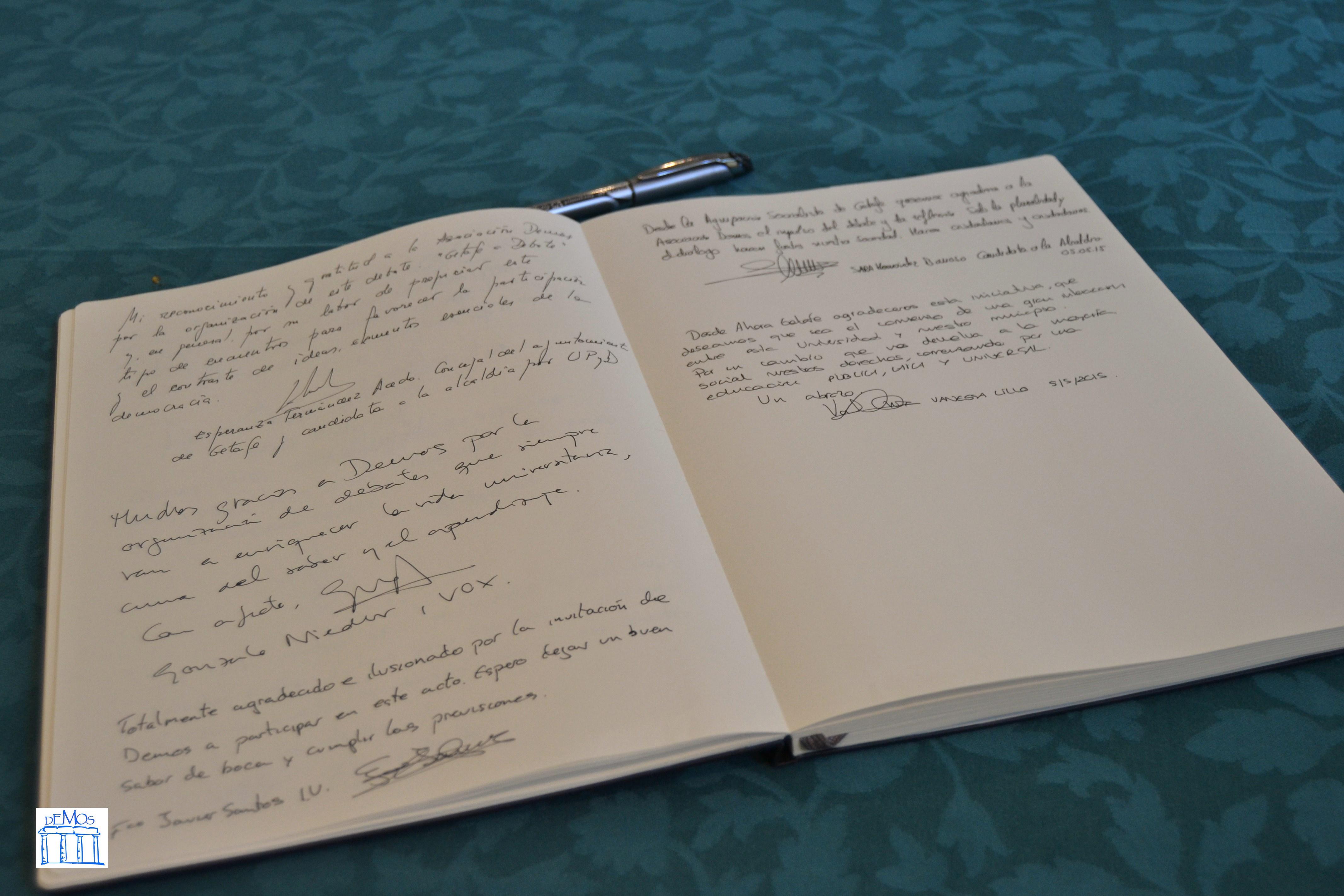 Libro de firmas de Demos