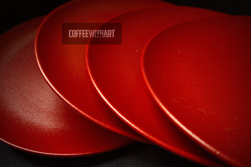 4 PLATE'S Round flat plate Ember - Bright Red Matt