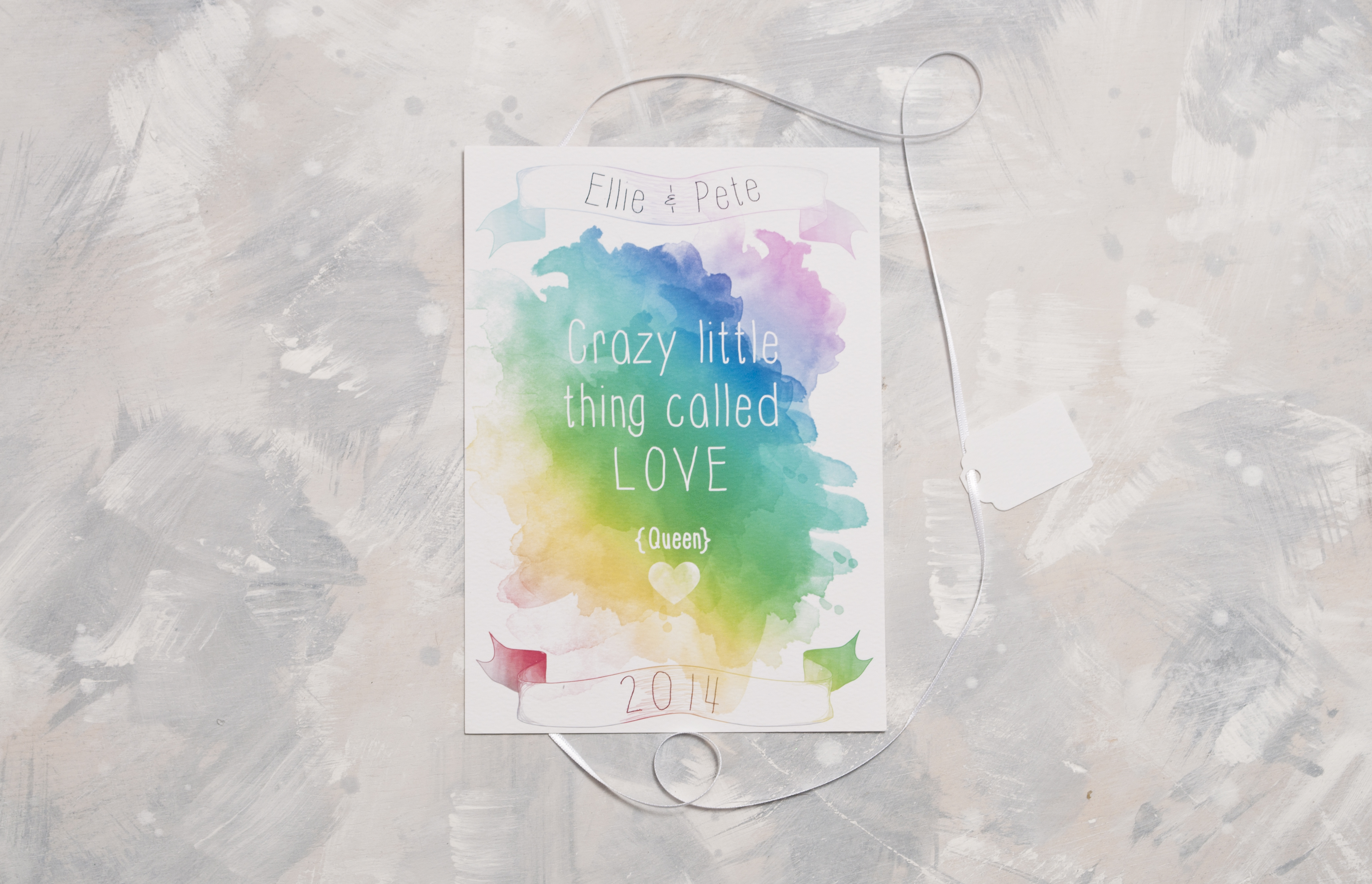 Watercolour Rainbow Wedding Invite