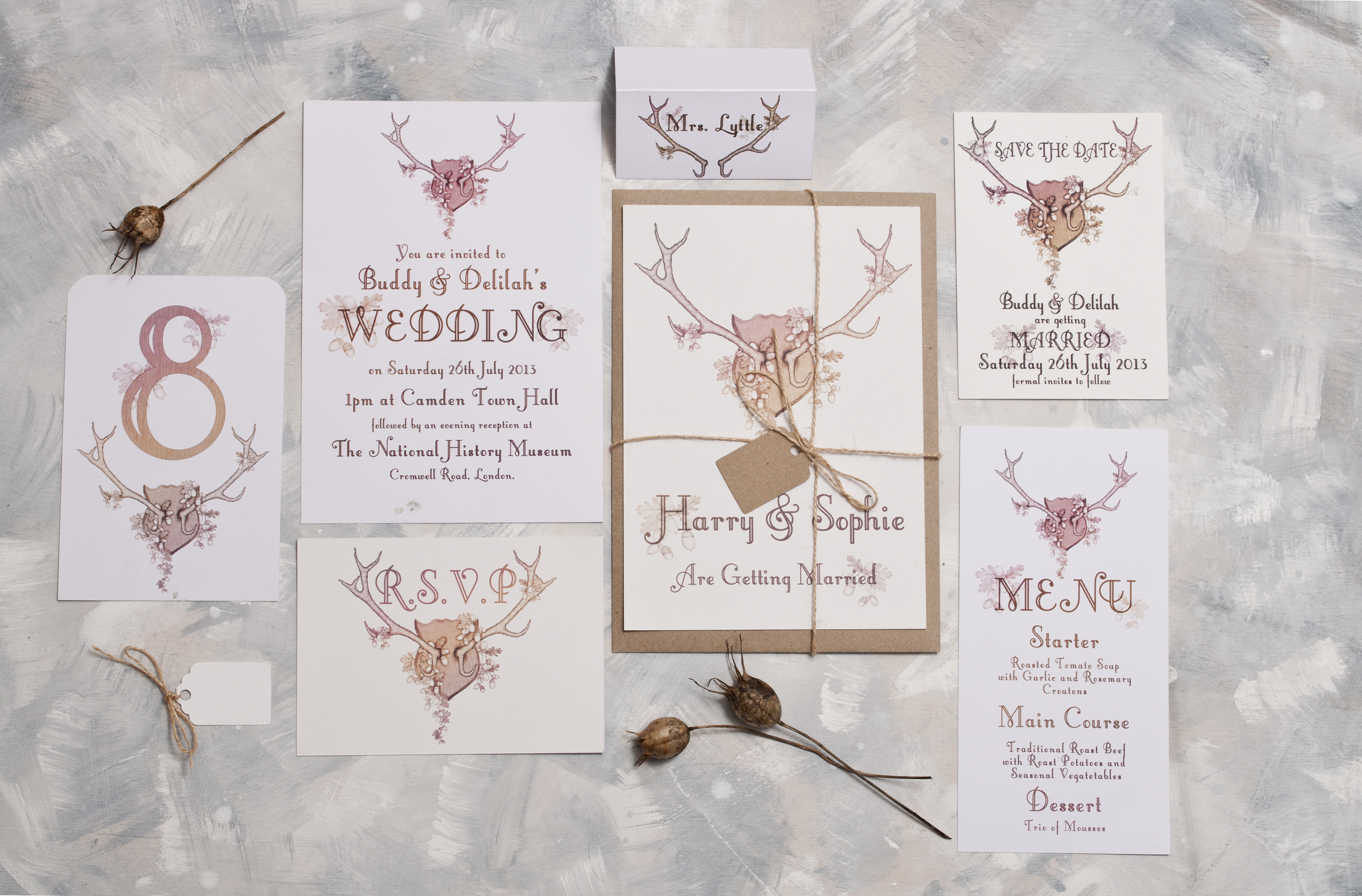 Autumnal Antlers Wedding Stationery