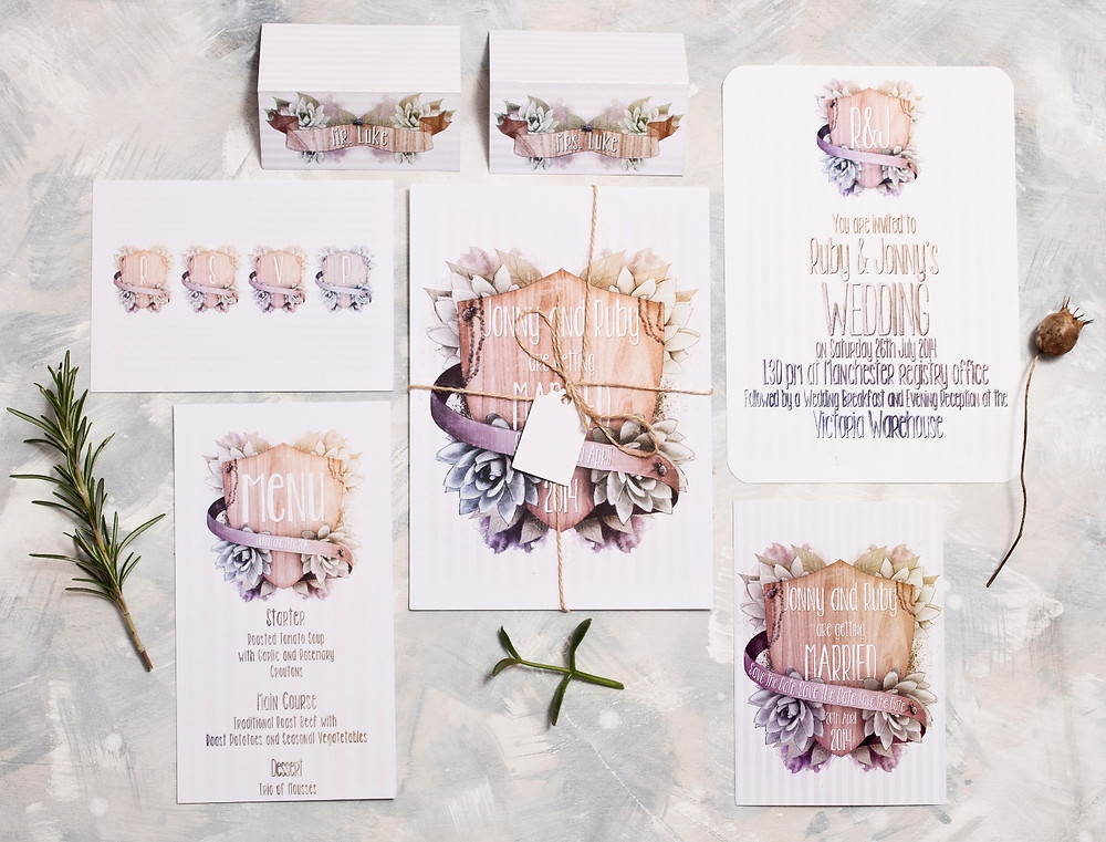 succulent wedding invites, wooden wedding stationery rustic invitations barn wedding