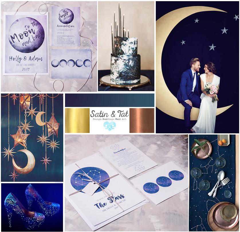 space wedding mood board, stars wedding, moon wedding invitations, space wedding invitations, satin and tat