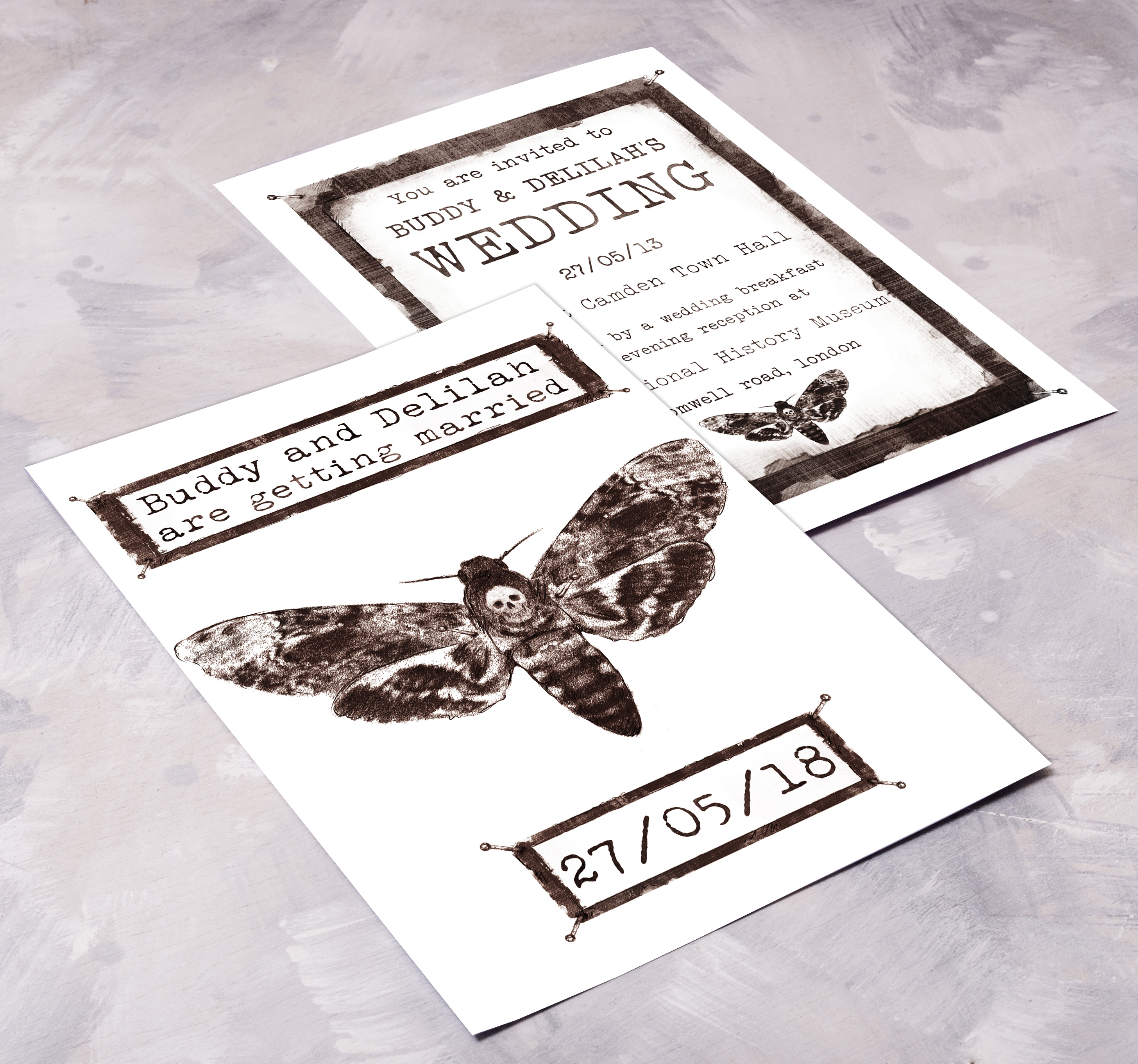 Pinned Moth Invitation Front & Back