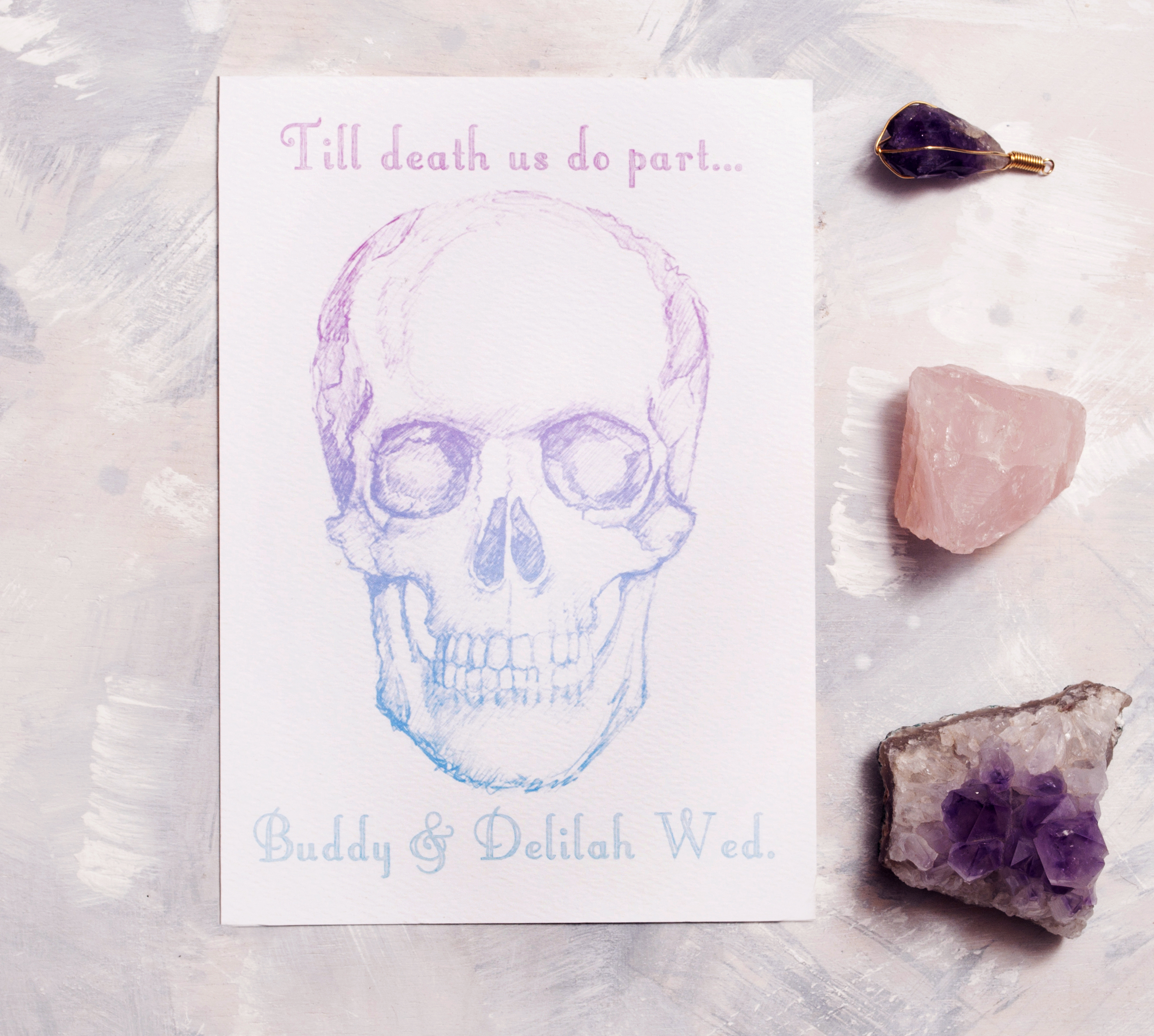 Skull Invitation in Ombre