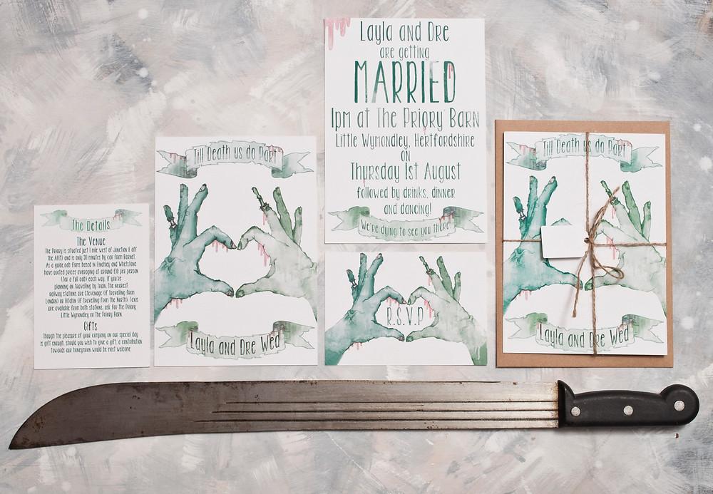 Wedding themes - wedding theme guide - wedding invitations - wedding stationery - zombie wedding - zombie wedding invitations