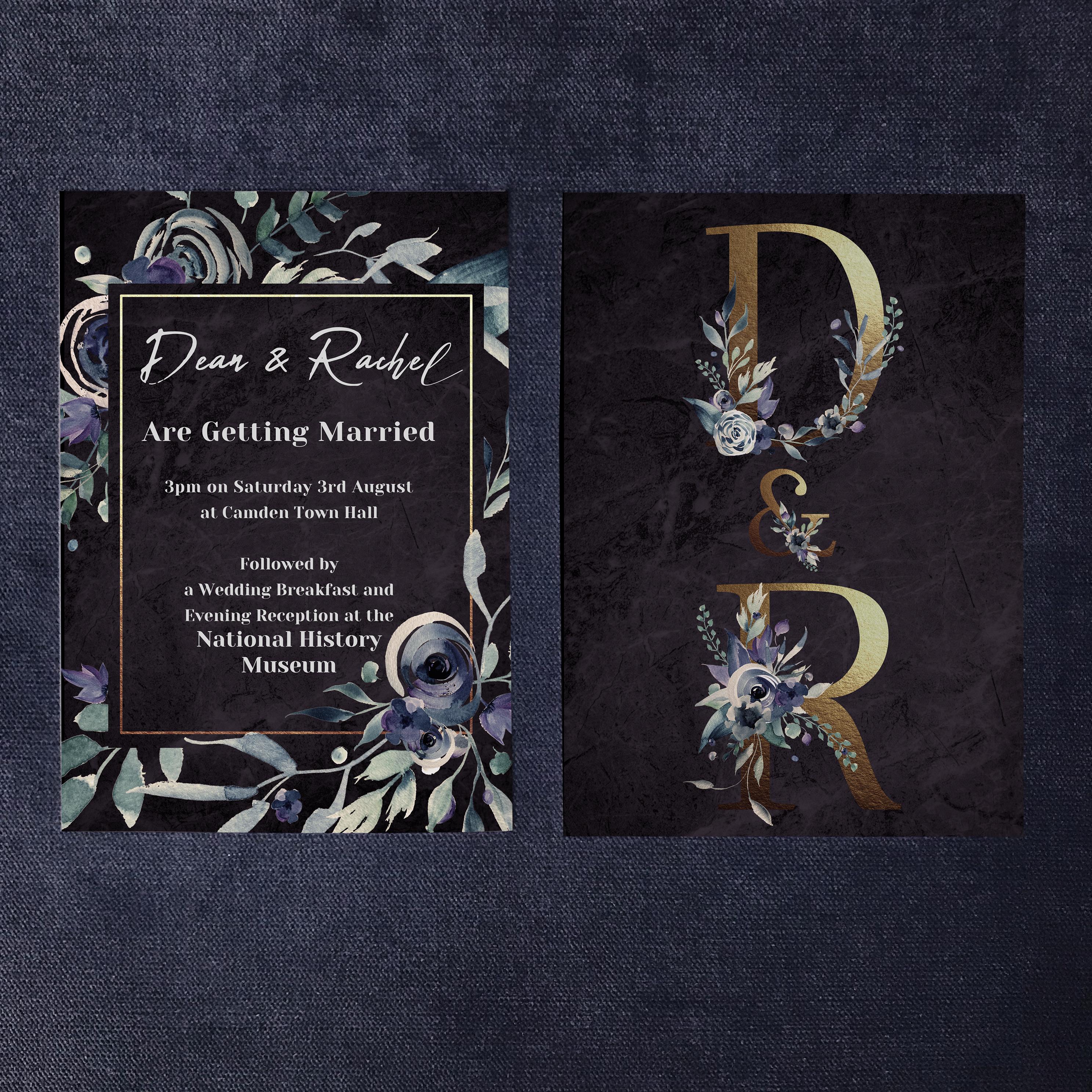 Dark Floral Invitation Front & Back