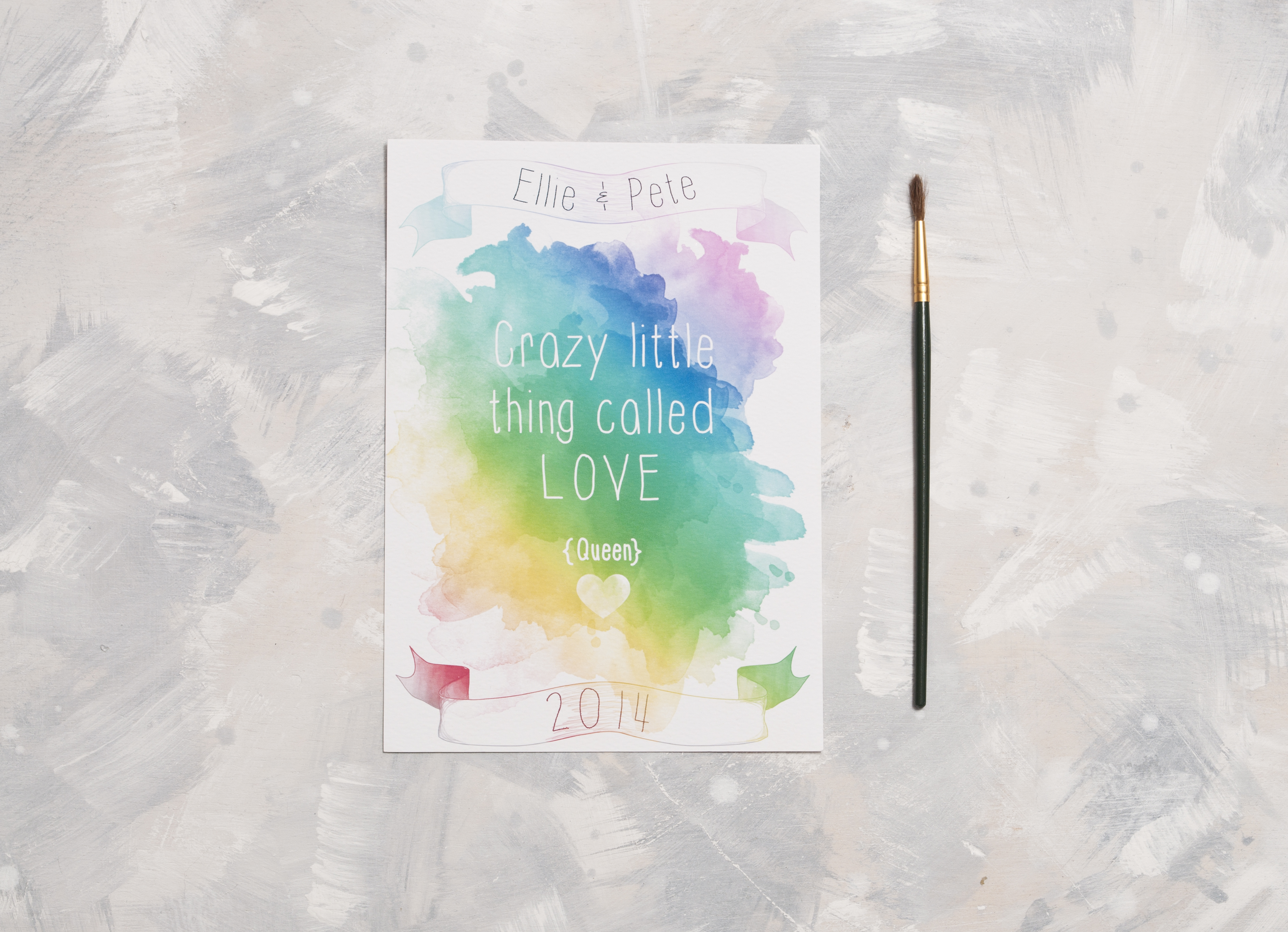 Watercolour Lyric Wedding Invitation