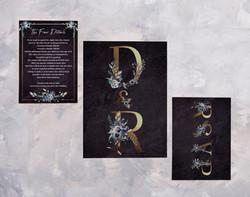 Dark Floral Invite, RSVP & Info card